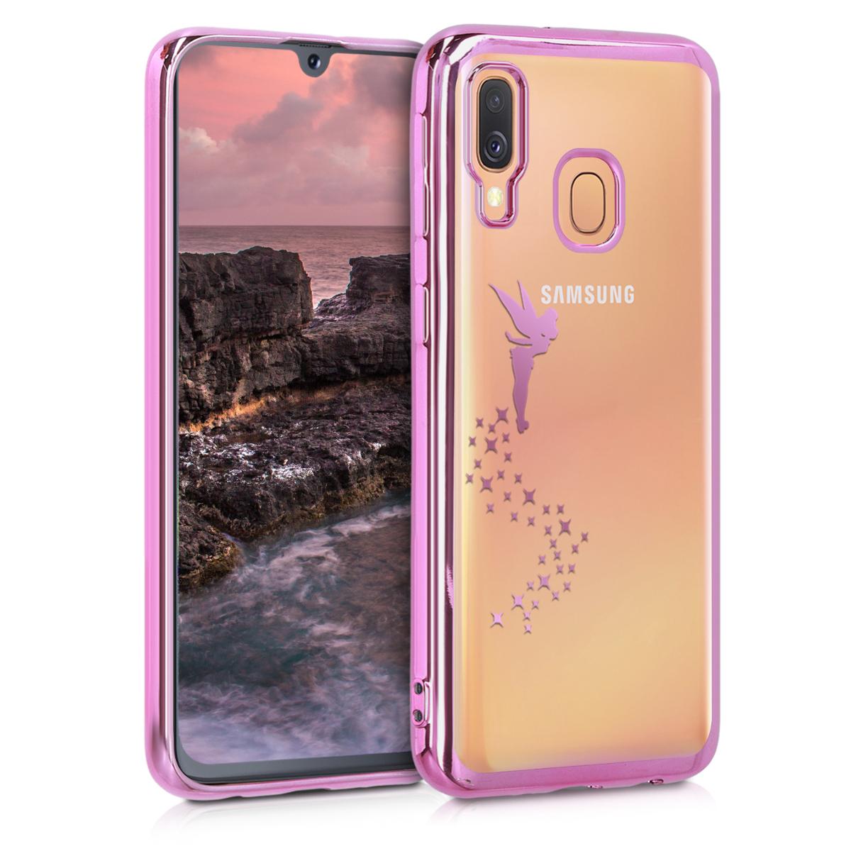 Kvalitní silikonové TPU pouzdro pro Samsung A40 - Víla tmavě růžové / transparentní