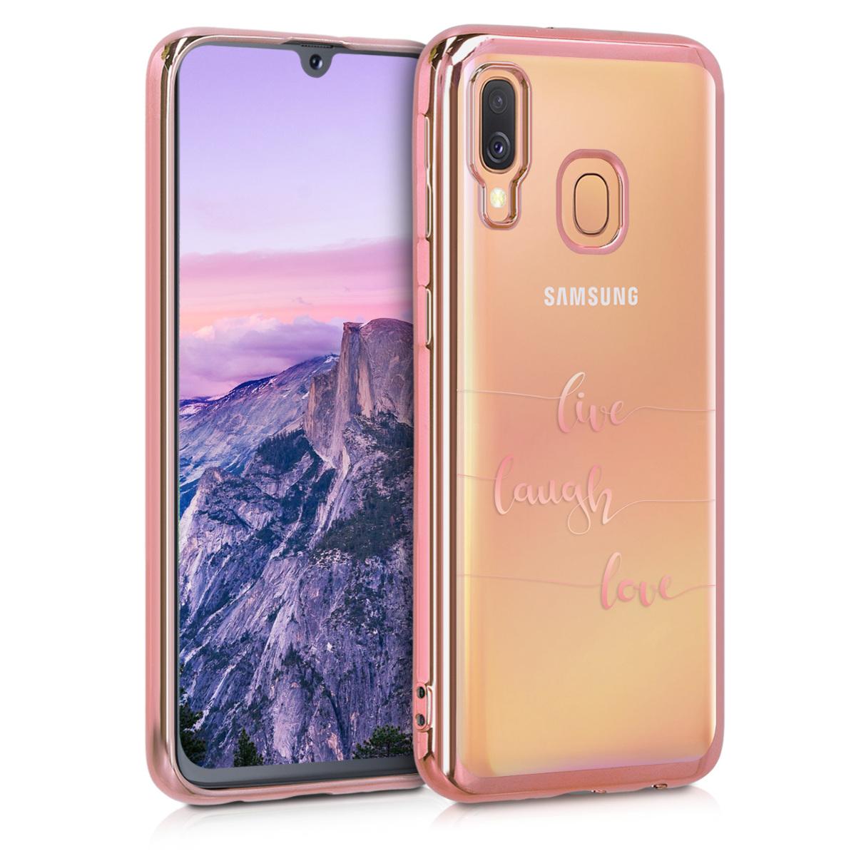 Kvalitní silikonové TPU pouzdro pro Samsung A40 - Žít, smích, láska starorůžové rosegold / starorůžové rosegold / transparentní