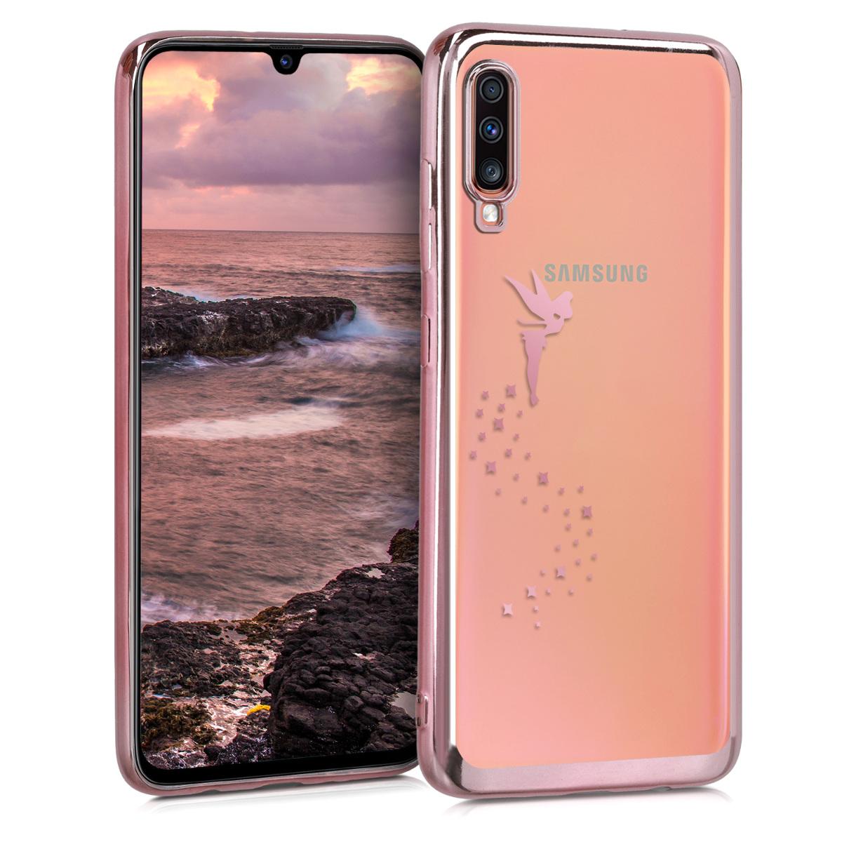 Kvalitní silikonové TPU pouzdro pro Samsung A70 - Víla starorůžové rosegold / transparentní