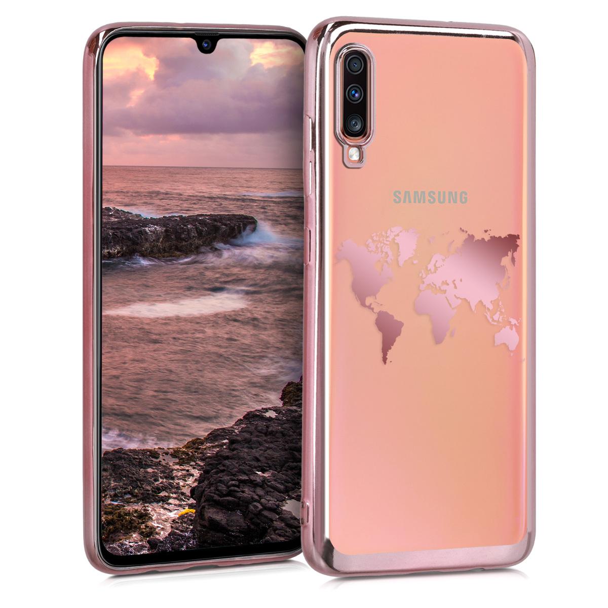 Kvalitní silikonové TPU pouzdro pro Samsung A70 - Travel Outline starorůžové rosegold / transparentní / starorůžové rosegold