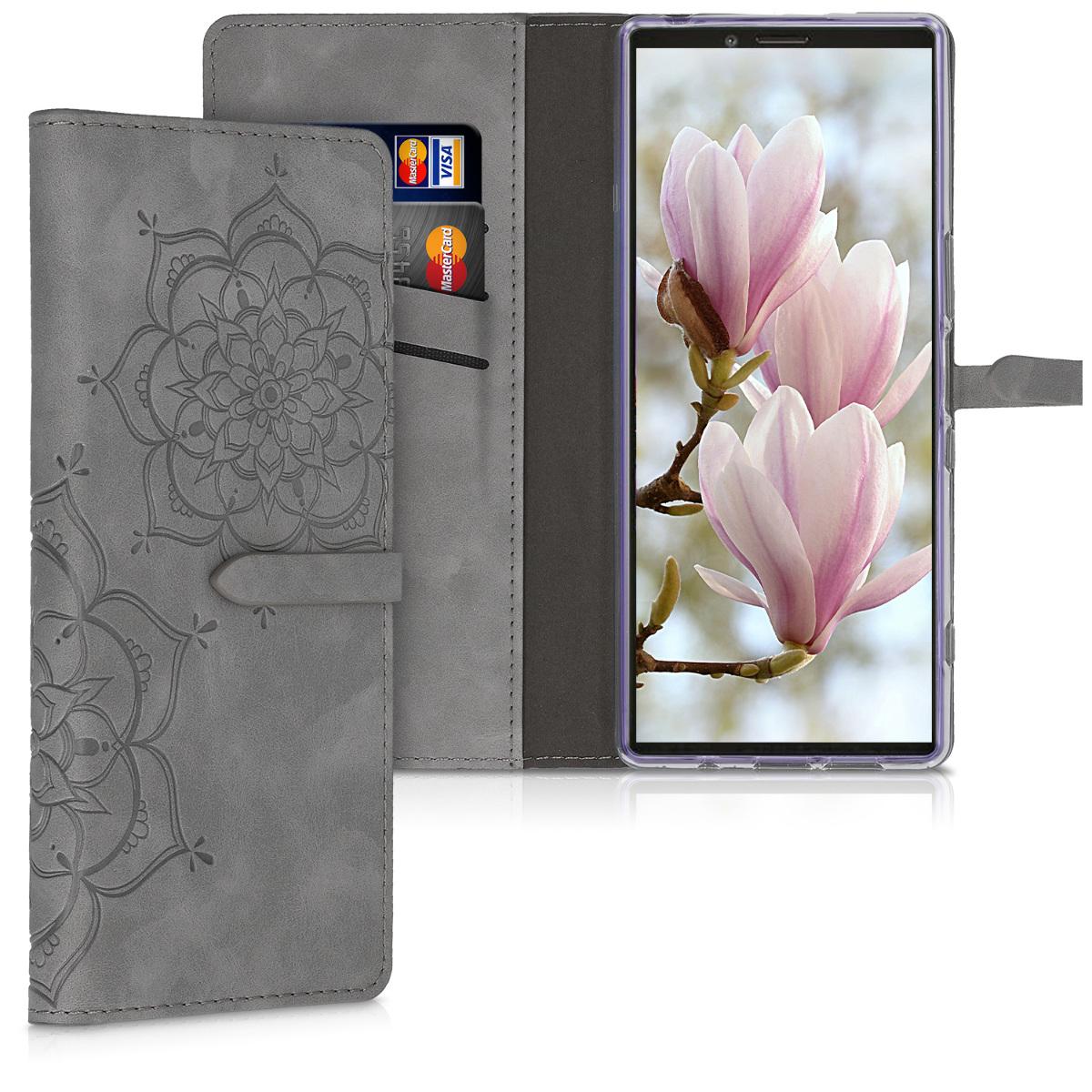 SyntheticNubukLeatherpouzdro | obal pro Sony Xperia 1 - květina Twins Gray