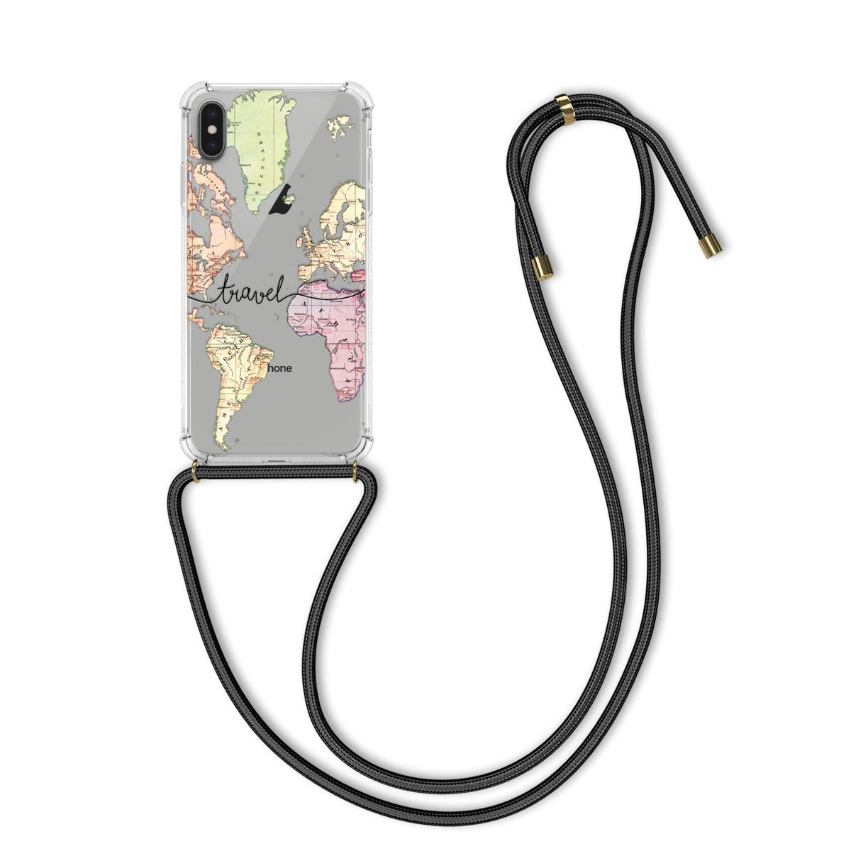 Kvalitní silikonové TPU pouzdro pro Apple iPhone XS Max - Travel Black | Multicolor | Transparent