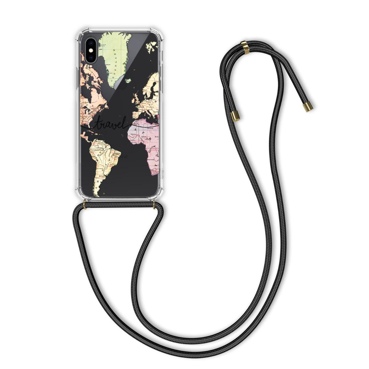 Kvalitní silikonové TPU pouzdro pro Apple iPhone XS - Travel Black | Multicolor | Transparent