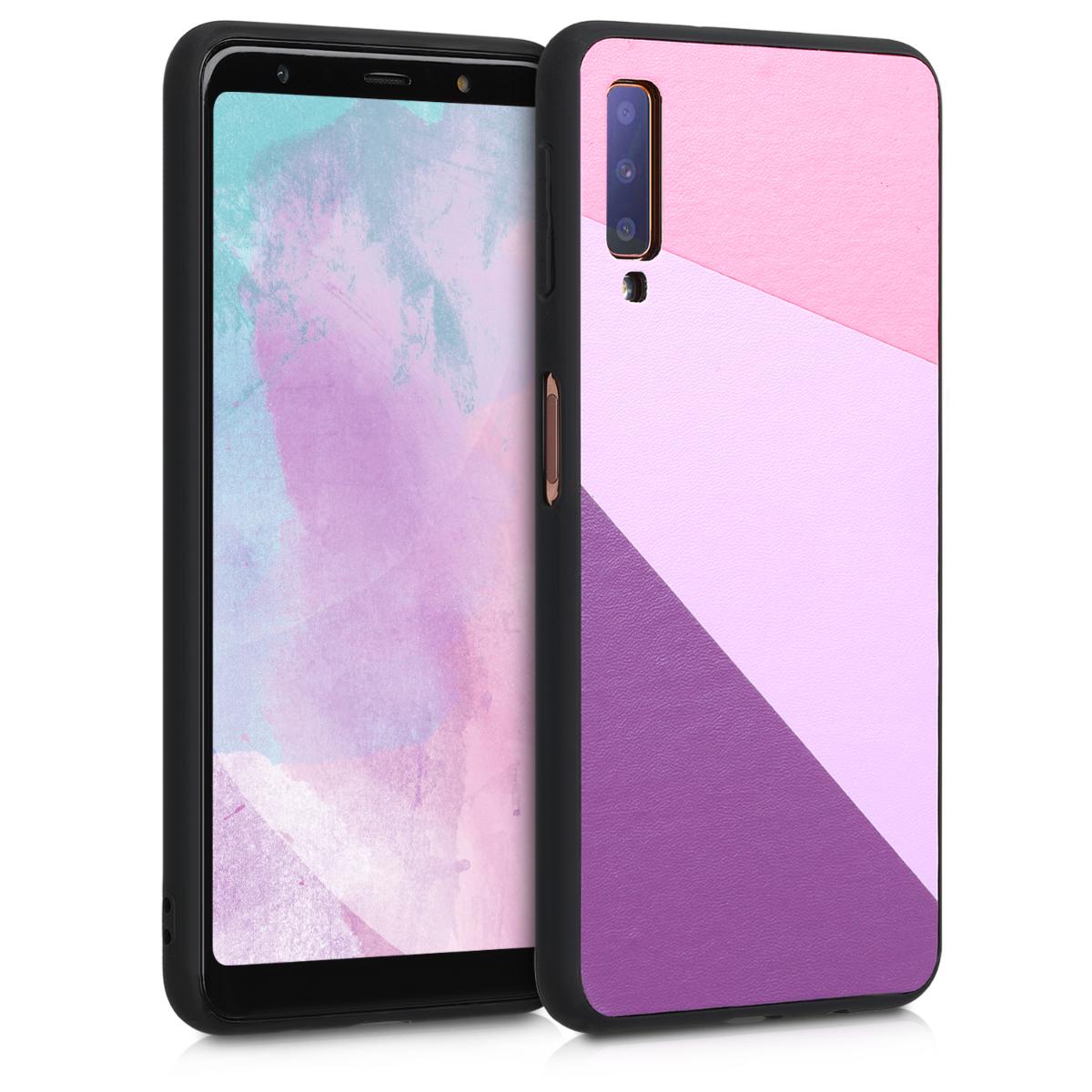 Kvalitní plastové pouzdro pro Samsung A7 (2018) - Trojúhelník geometrický světle  růžová / Dusty růžové / fialové