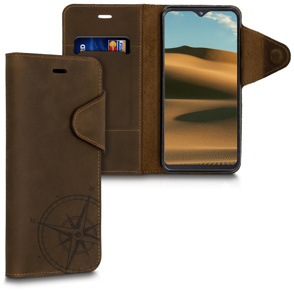 Kožené pouzdro pro Samsung A20e - Navigační Compass Brown