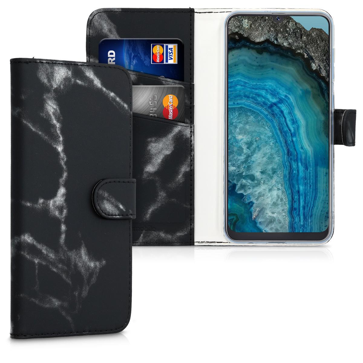 Kožené pouzdro pro Samsung A50 - Marble černé / stříbrné