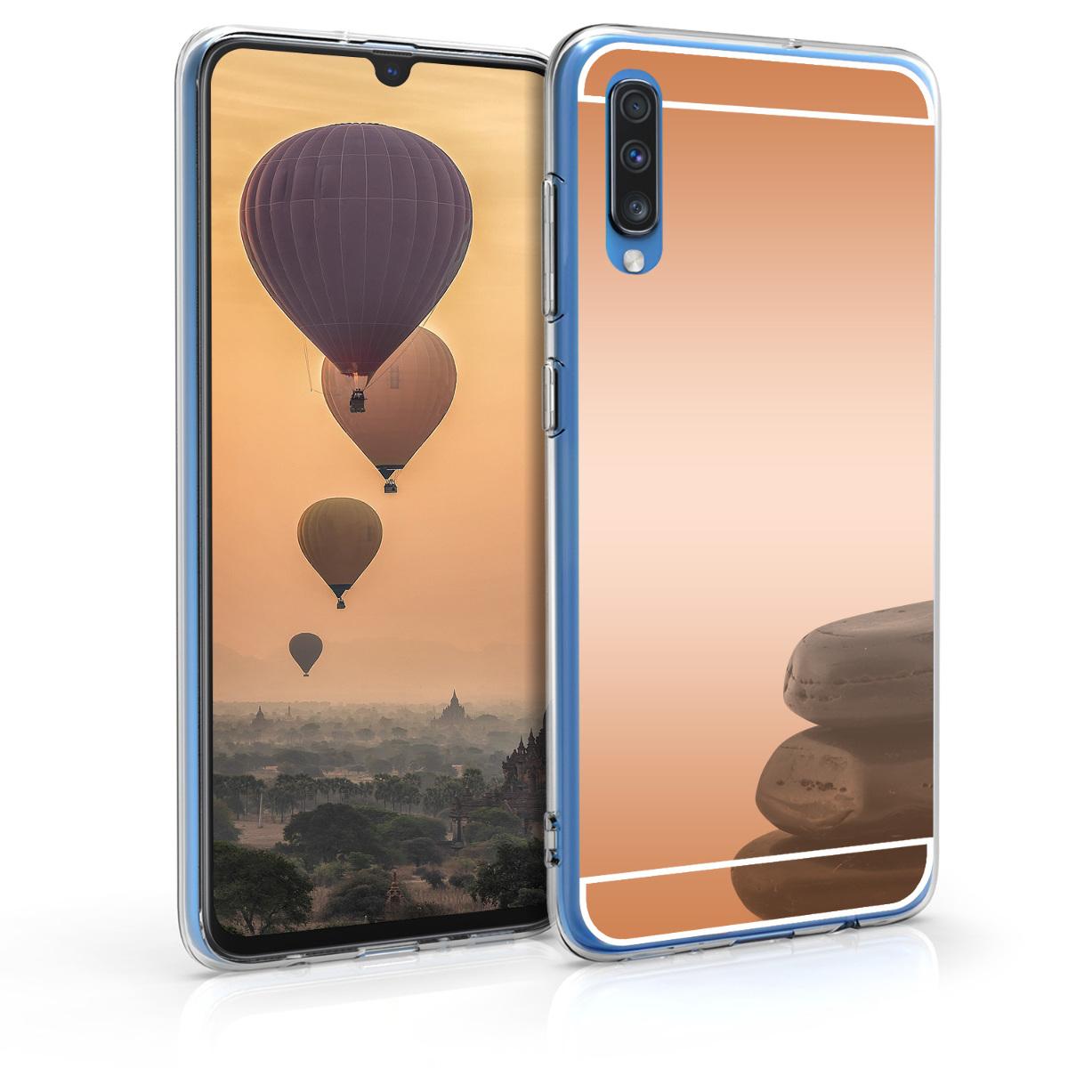 Kvalitní silikonové TPU pouzdro pro Samsung A70 - starorůžové rosegold Reflective