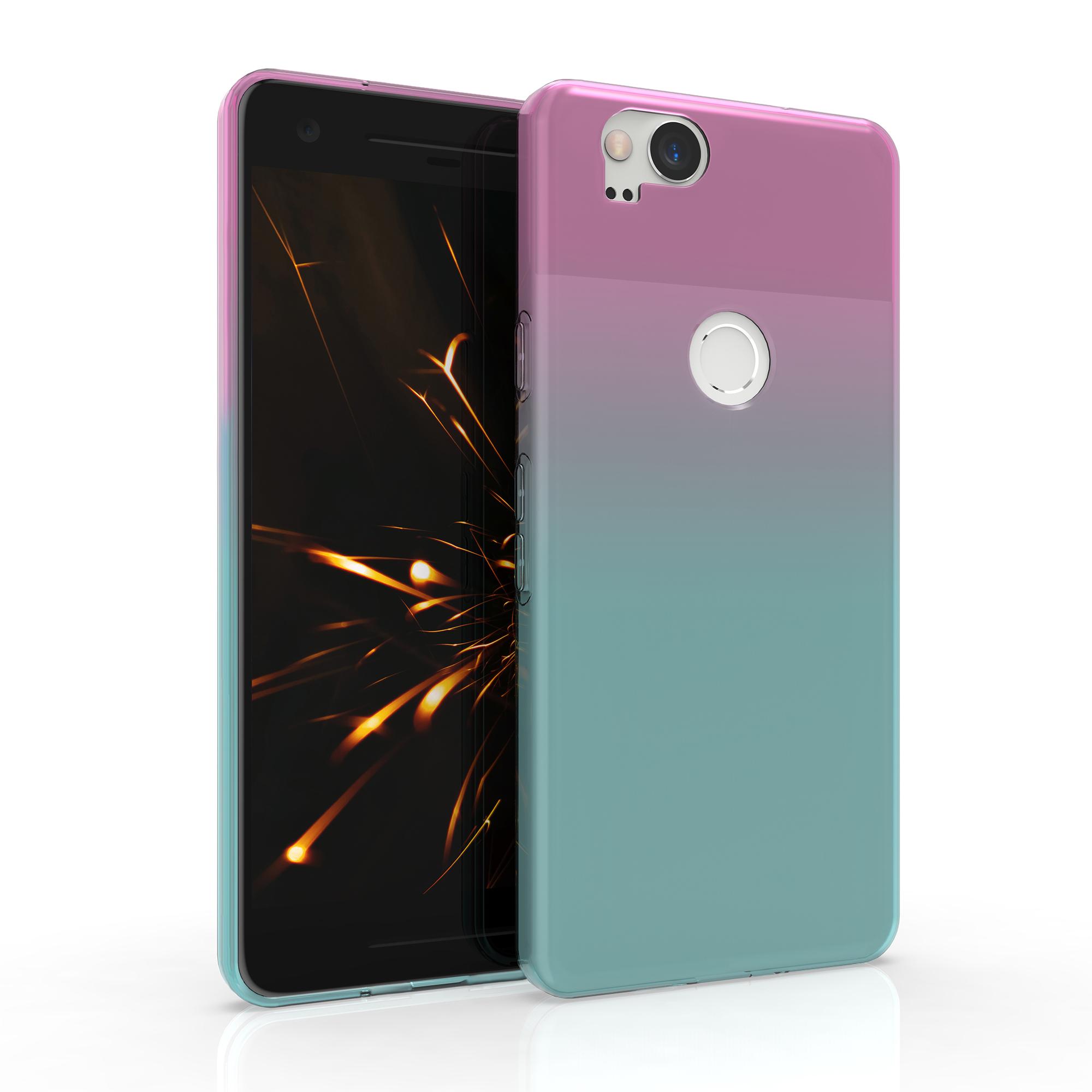 Kvalitní silikonové TPU pouzdro   obal pro Google Pixel 2 - Dvoubarevný tmavě růžový / modrý / průhledný