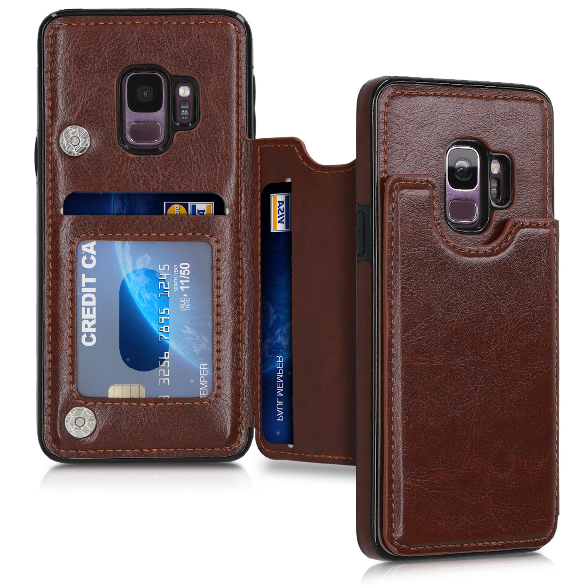 Pouzdro pro Samsung Galaxy S9 - PU Leather Protective Back Cover with Card Slots and Stand - Brown