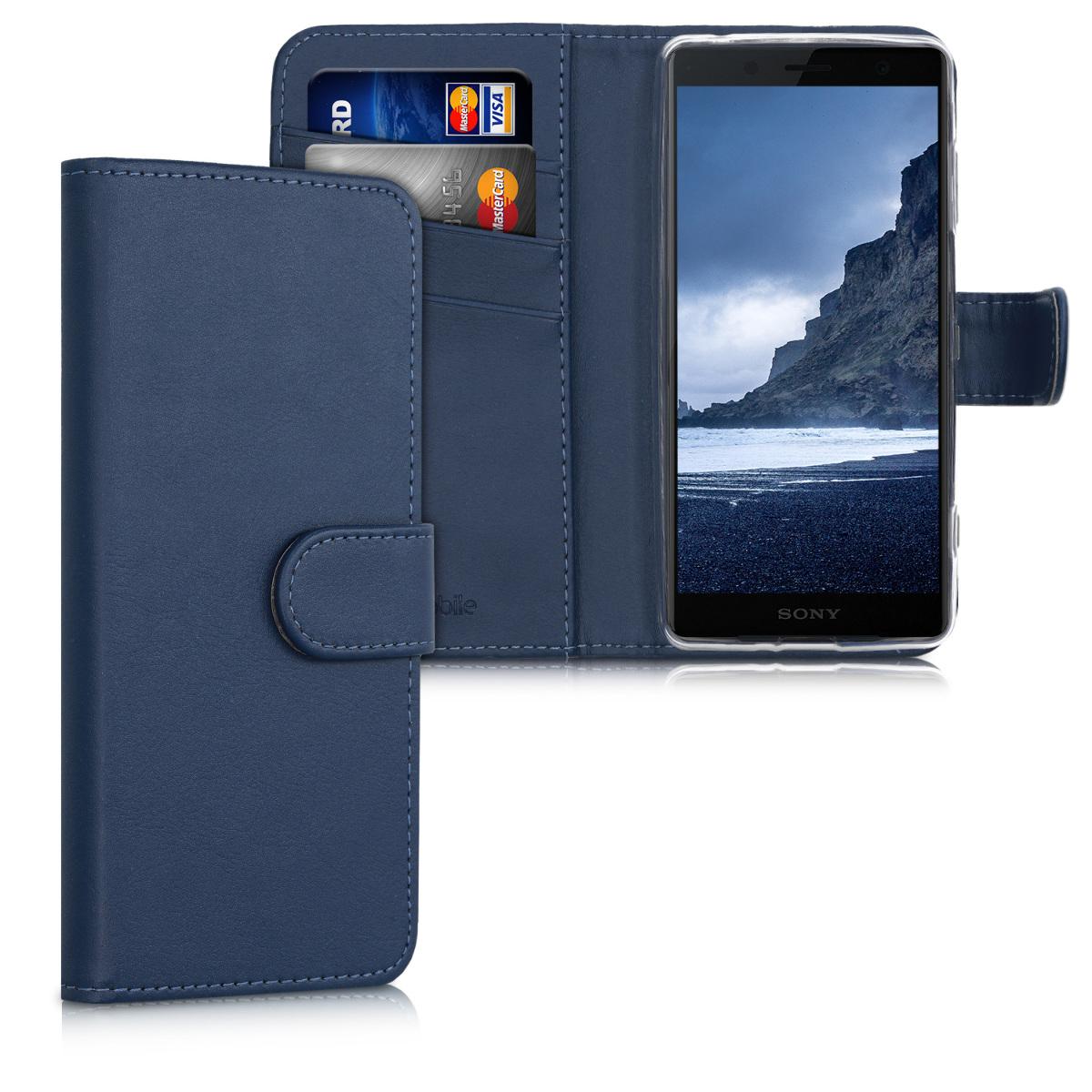 Kožené pouzdro | obal pro Sony Xperia XZ2 Compact - tmavě modré