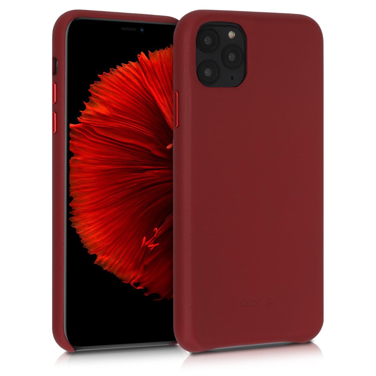 Kožené pouzdro pro Apple iPhone 11 Pro Max - Červené