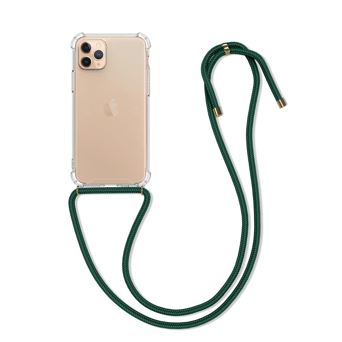 Kvalitní silikonové TPU pouzdro pro Apple iPhone 11 Pro - Transparent | Dark Green