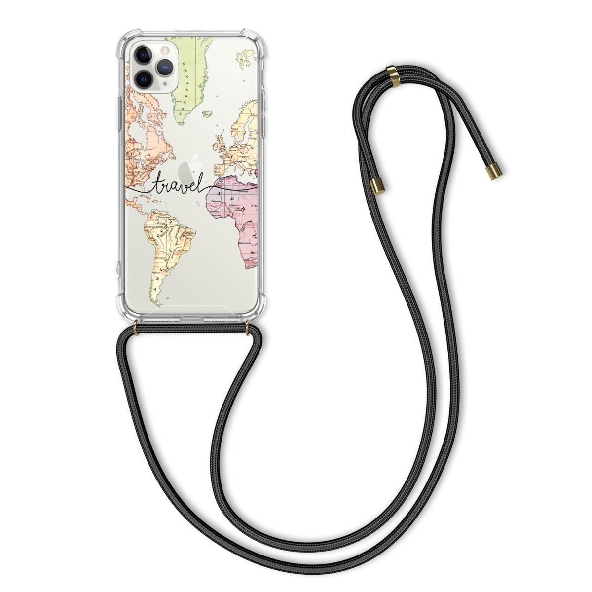 Kvalitní silikonové TPU pouzdro pro Apple iPhone 11 Pro - Travel Black | Multicolor | Transparent