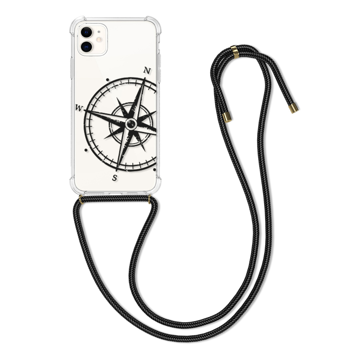 Kvalitní silikonové TPU pouzdro pro Apple iPhone 11 - Navigační Compass Black | Transparent