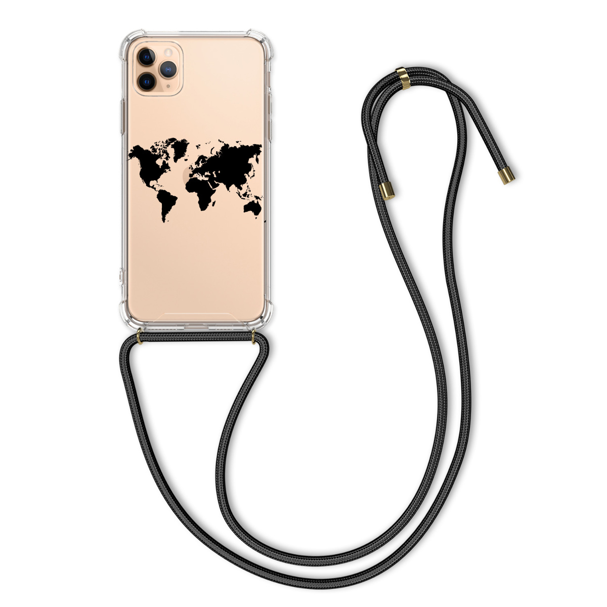 Kvalitní silikonové TPU pouzdro pro Apple iPhone 11 Pro Max - Travel Outline Black | Transparent