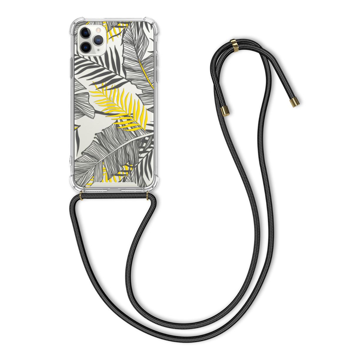 Kvalitní silikonové TPU pouzdro pro Apple iPhone 11 Pro Max - Palm Leaves Yellow | Grey | Transparent