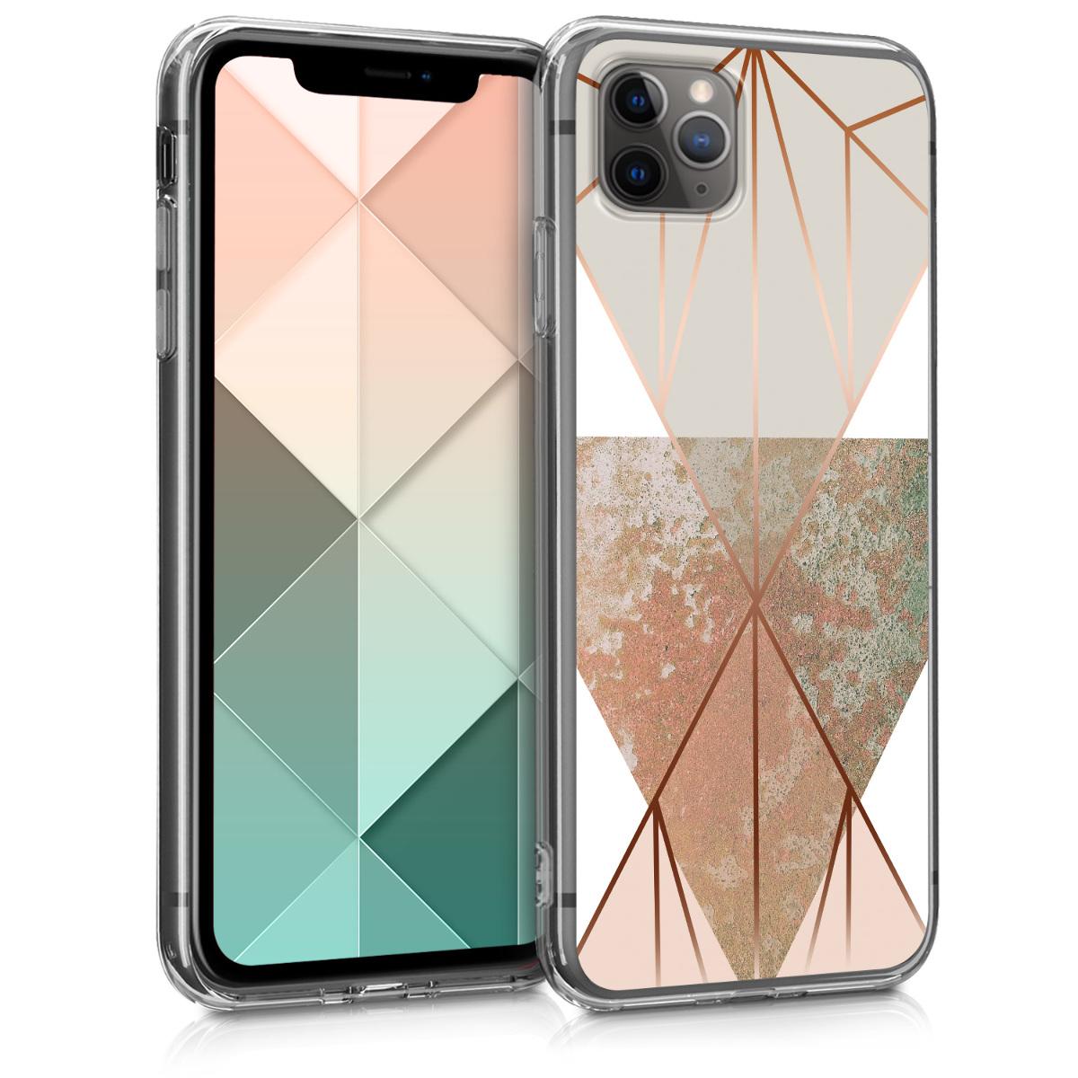 Kvalitní silikonové TPU pouzdro pro Apple iPhone 11 Pro - Trojúhelníkové tvary Beige | Rose Gold | White