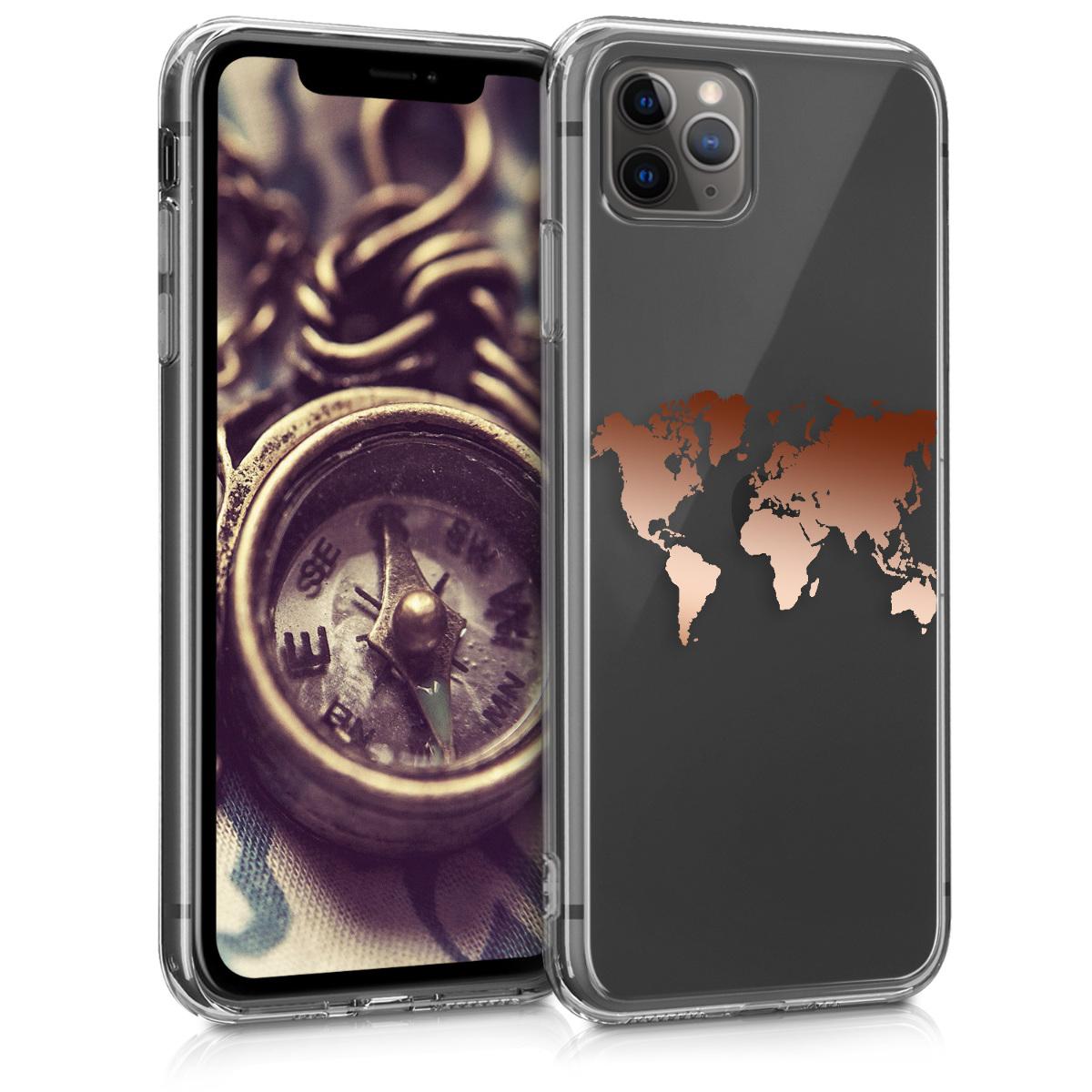 Kvalitní silikonové TPU pouzdro pro Apple iPhone 11 Pro - Travel Outline Rose Gold | Transparent