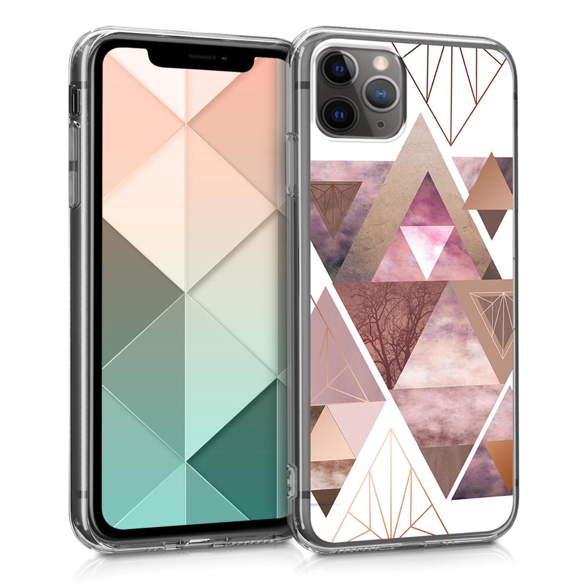 Kvalitní silikonové TPU pouzdro pro Apple iPhone 11 Pro - Patchwork Triangles Light Pink | Rose Gold | White