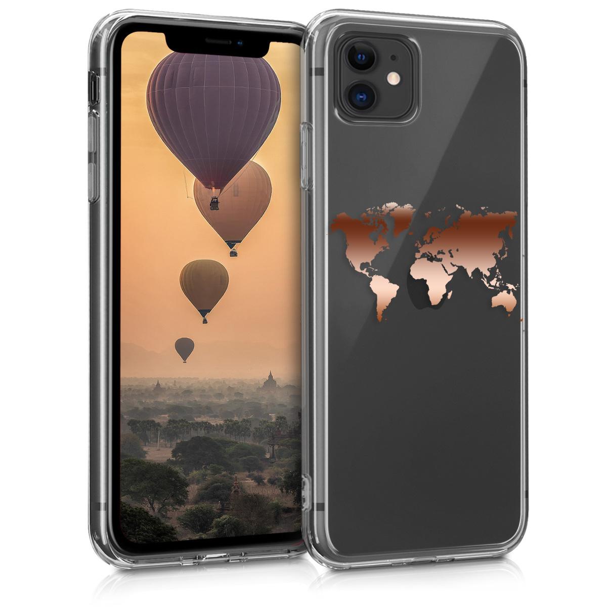 Kvalitní silikonové TPU pouzdro pro Apple iPhone 11 - Travel Outline Rose Gold | Transparent