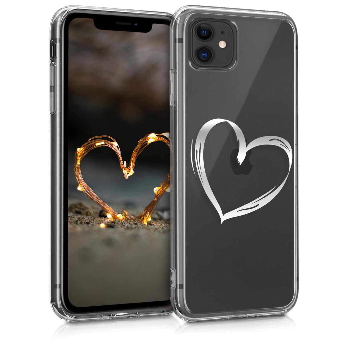 Kvalitní silikonové TPU pouzdro pro Apple iPhone 11 - Brushed Heart Silver | Transparent