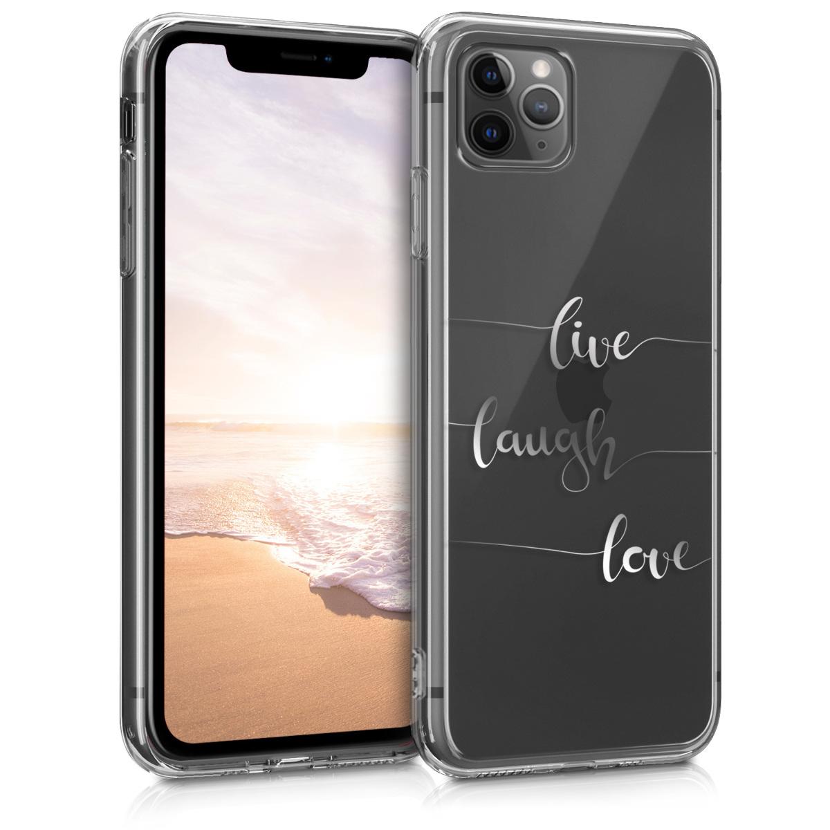 Kvalitní silikonové TPU pouzdro pro Apple iPhone 11 Pro Max - Žít, smích, láska Silver | Transparent