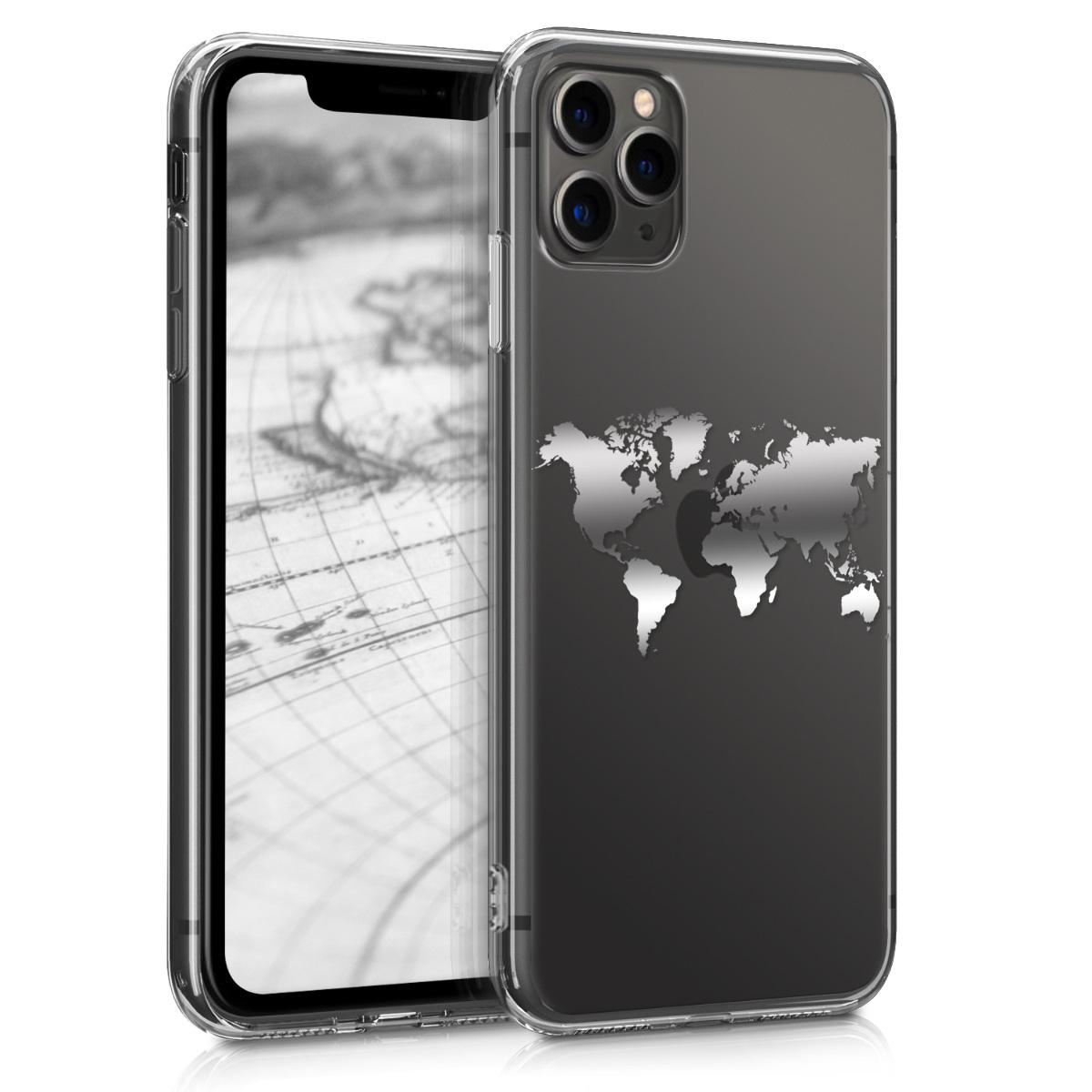 Kvalitní silikonové TPU pouzdro pro Apple iPhone 11 Pro Max - Travel Outline Silver | Transparent