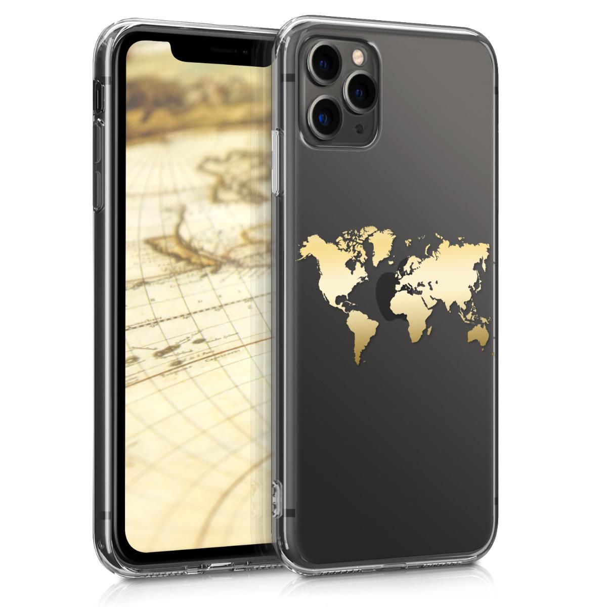 Kvalitní silikonové TPU pouzdro pro Apple iPhone 11 Pro Max - Travel Outline Gold | Transparent