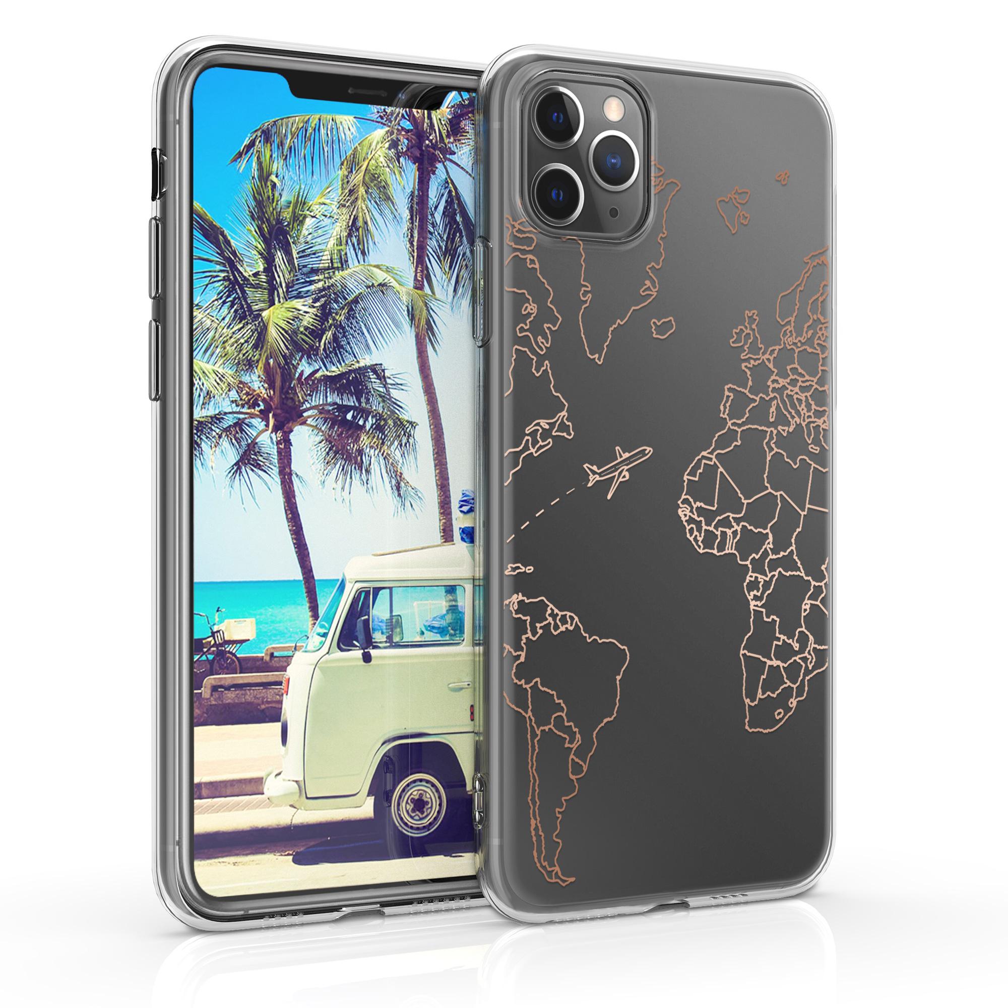 Kvalitní silikonové TPU pouzdro pro Apple iPhone 11 Pro Max - Travel & Prozkoumat Rose Gold | Transparent