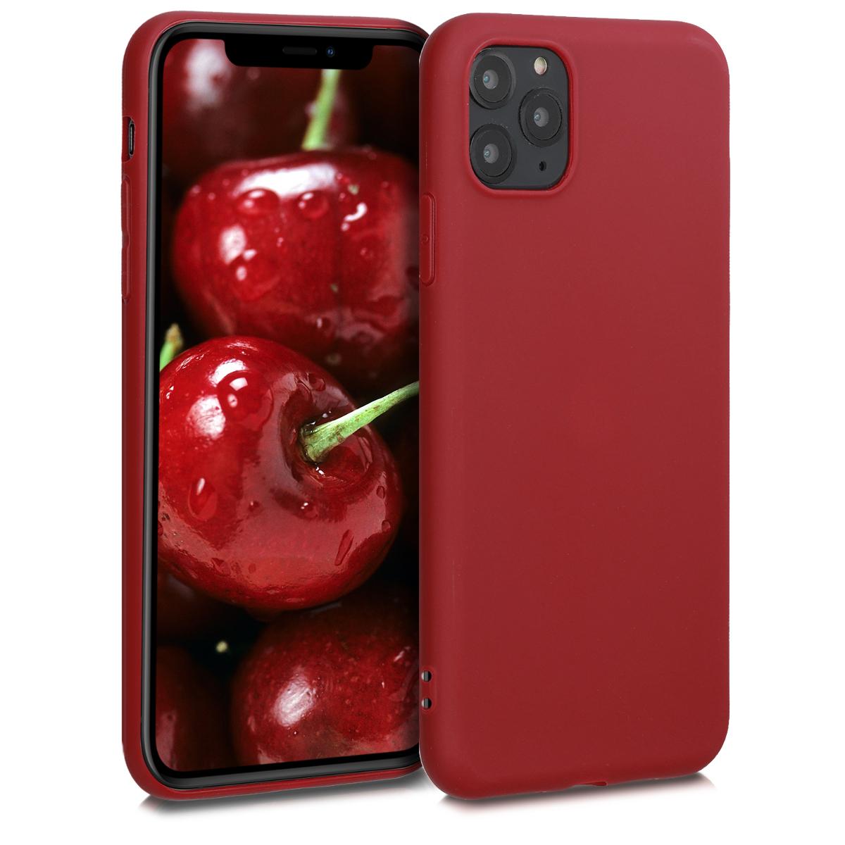 Kvalitní silikonové TPU pouzdro pro Apple iPhone 11 Pro Max - Red Matte