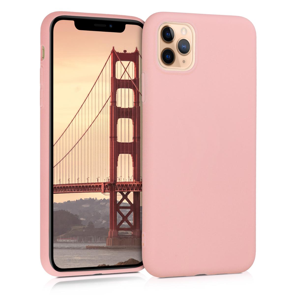 Kvalitní silikonové TPU pouzdro pro Apple iPhone 11 Pro Max - Rose Gold Matte