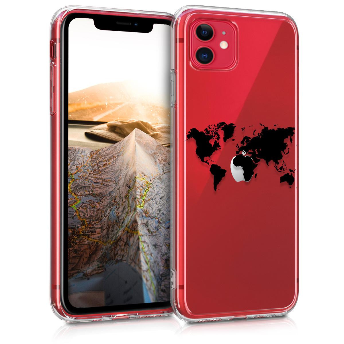 Kvalitní silikonové TPU pouzdro pro Apple iPhone 11 - Travel Outline Black | Transparent