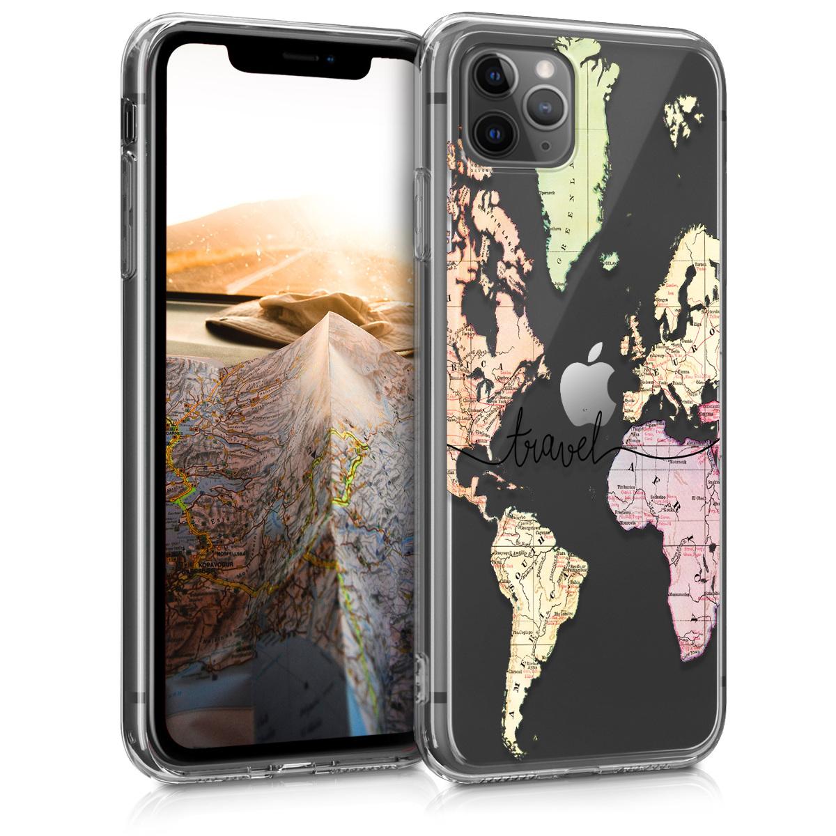 Kvalitní silikonové TPU pouzdro pro Apple iPhone 11 Pro Max - Travel Black | Multicolor | Transparent