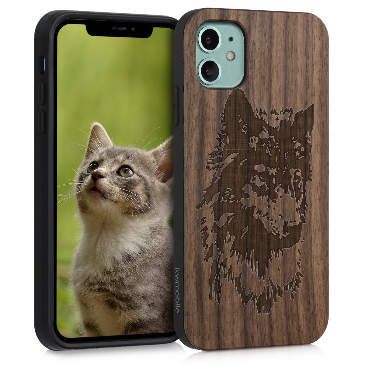 Dřevěné pouzdro pro Apple iPhone 11 - Wolf Head Brown | Tmavě hnědá