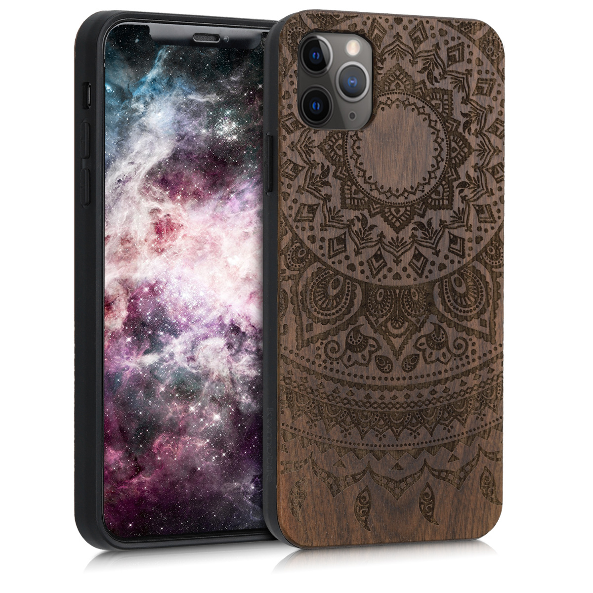 Dřevěné pouzdro pro Apple iPhone 11 Pro Max - Indické Sun Dark Brown