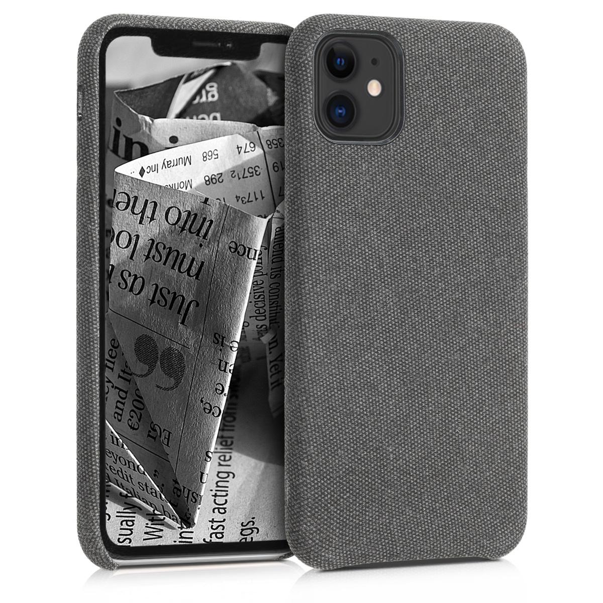 Tmavě šedé textilní látkové pouzdro | obal pro Apple iPhone 11