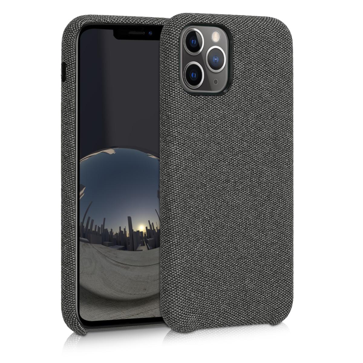 Tmavě šedé textilní látkové pouzdro | obal pro Apple iPhone 11 Pro Max