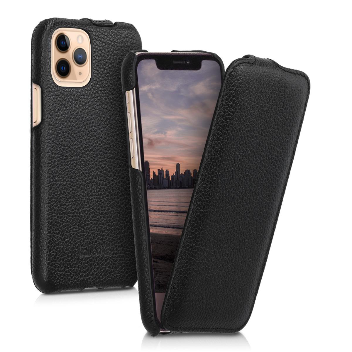 Kožené pouzdro pro Apple iPhone 11 Pro - Černá