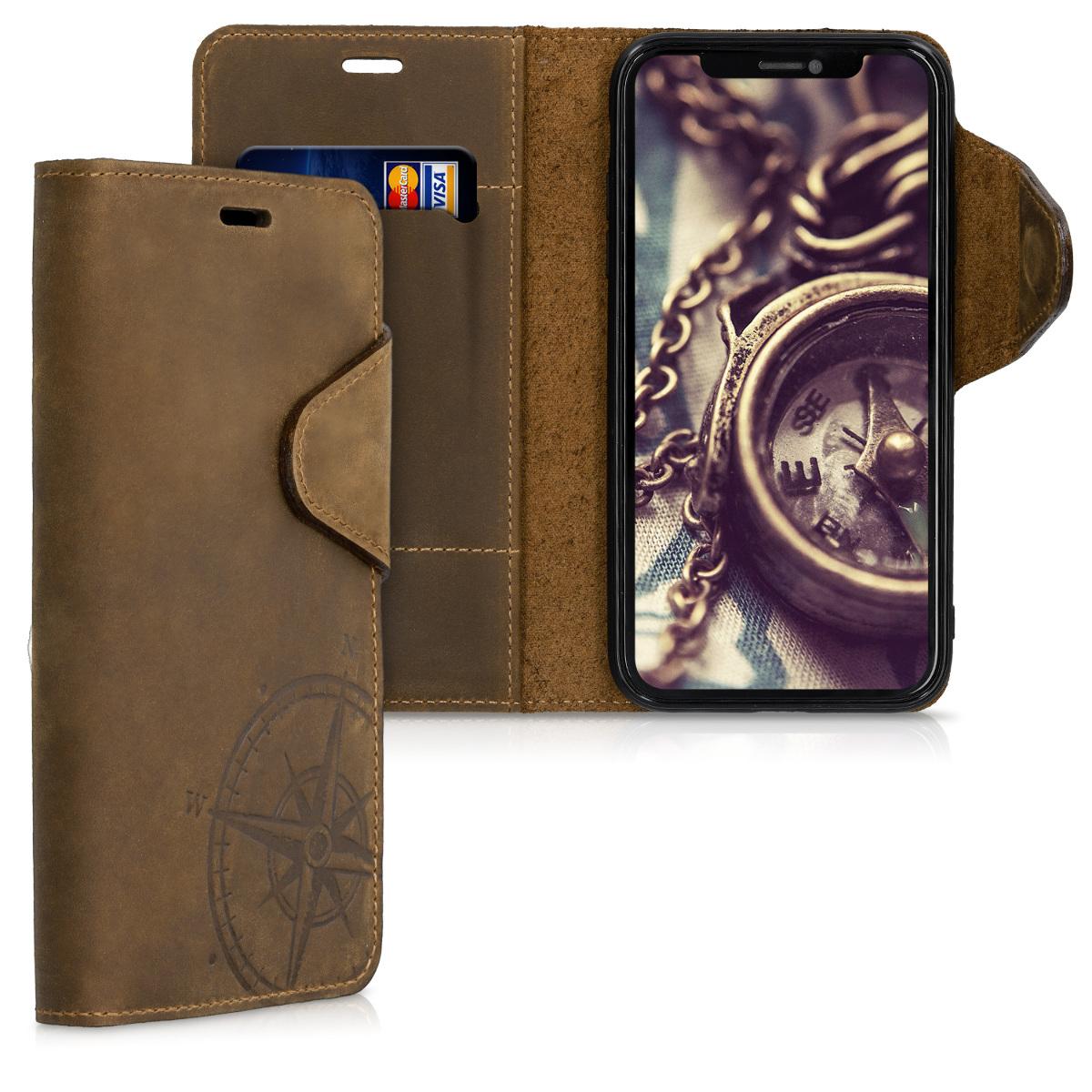 Kožené pouzdro pro Apple iPhone 11 - Navigační Compass Brown