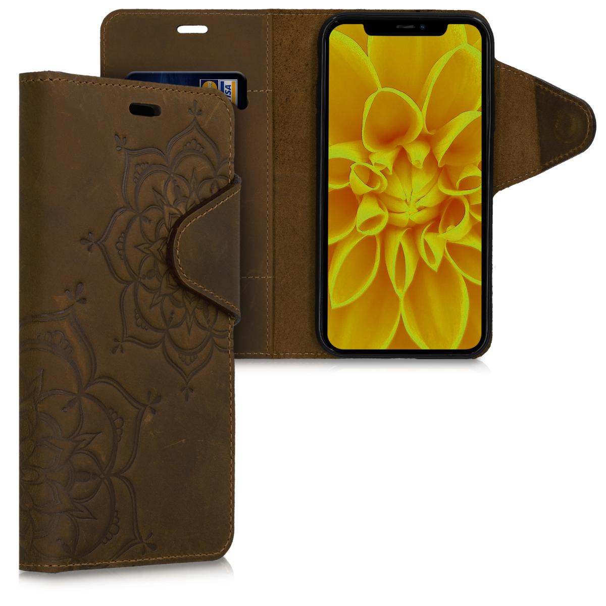 Kožené pouzdro pro Apple iPhone 11 - Flower Twins Brown