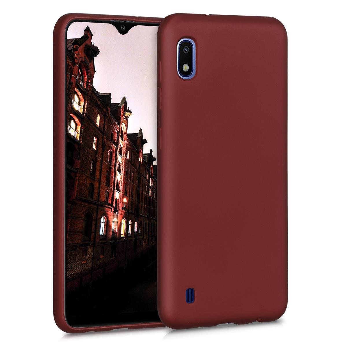 Kvalitní silikonové TPU pouzdro pro Samsung A10 - metalické Ruby červené