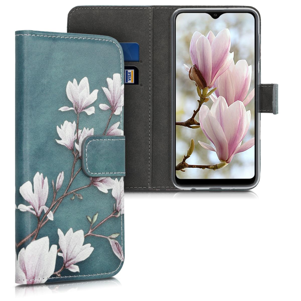 Kožené pouzdro pro Samsung A10 - Magnolie Taupe / bílá / modré šedé