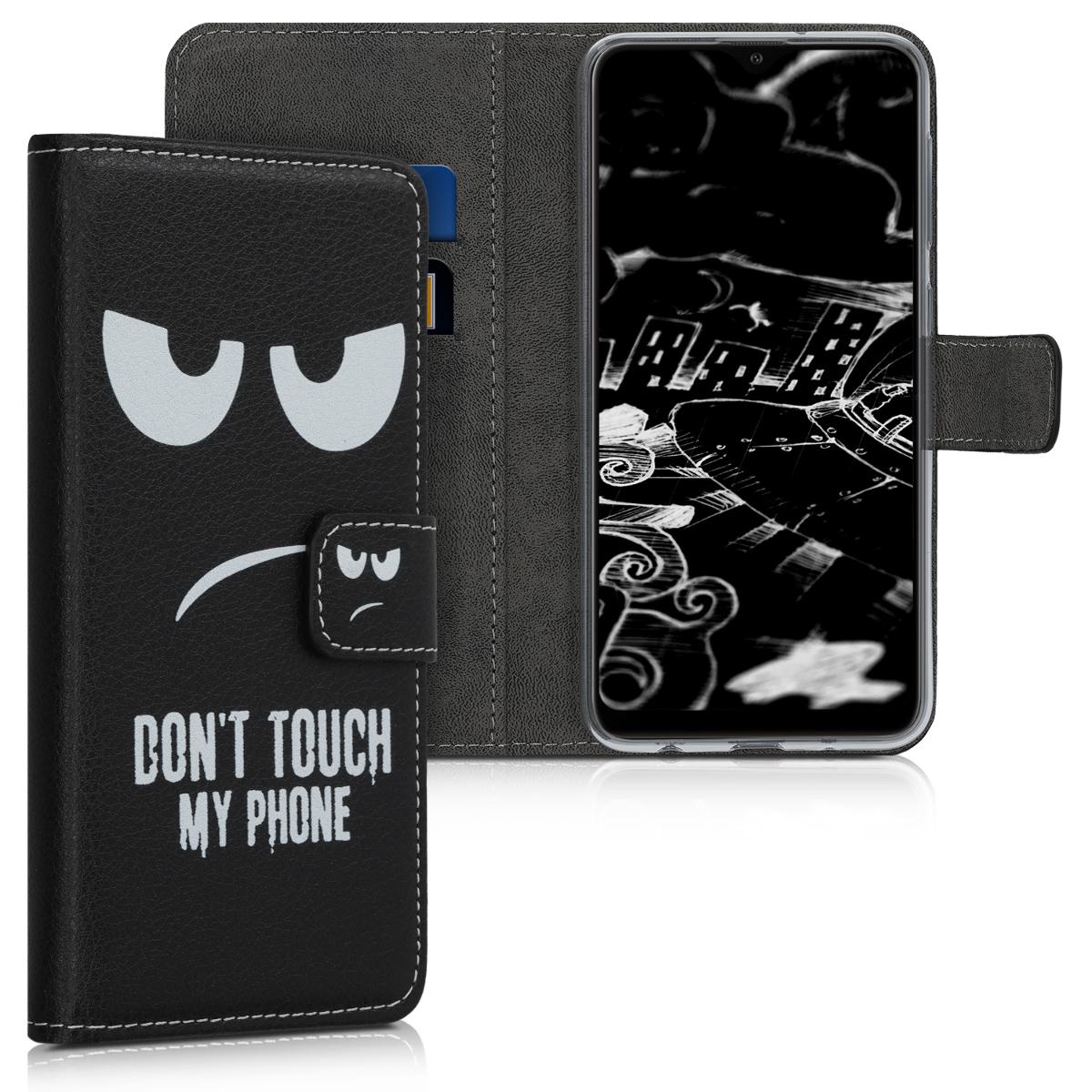 Kožené pouzdro pro Samsung A10 - Nedotýkejte My Phone bílé / černé