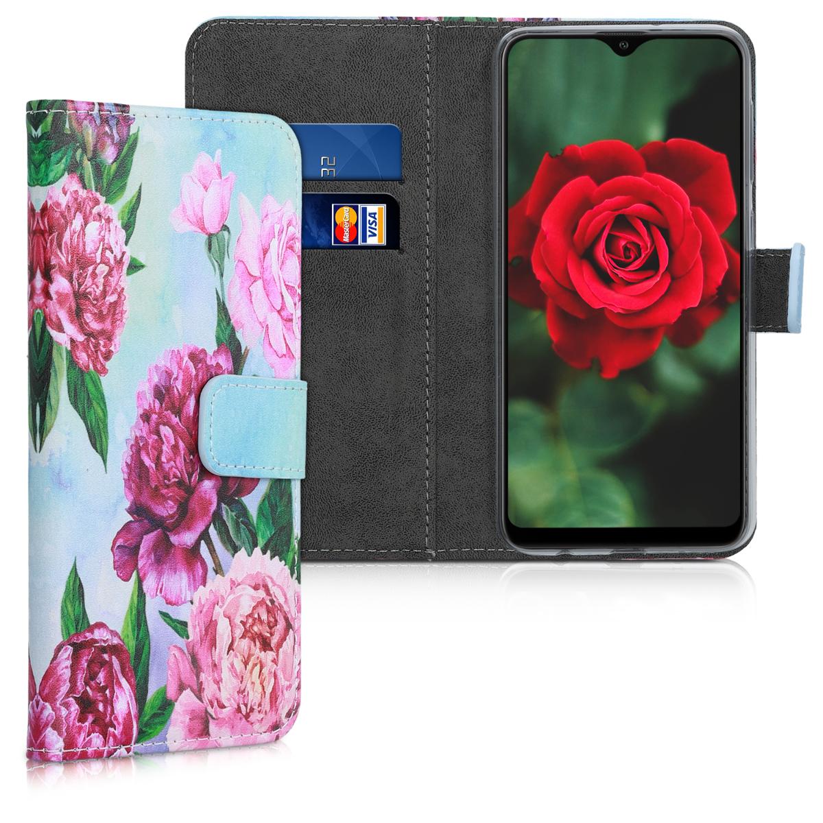 Kožené pouzdro pro Samsung A10 - květiny Mix fialové / růžové / světle  modré
