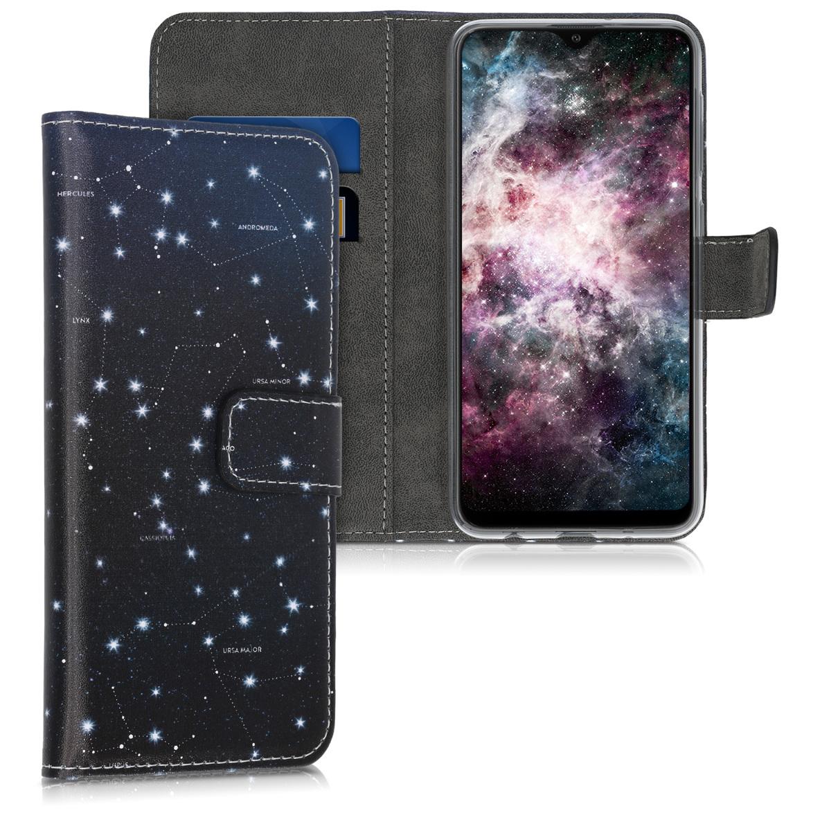 Kožené pouzdro pro Samsung A10 - Hvězda Mapa bílé / tmavě modré