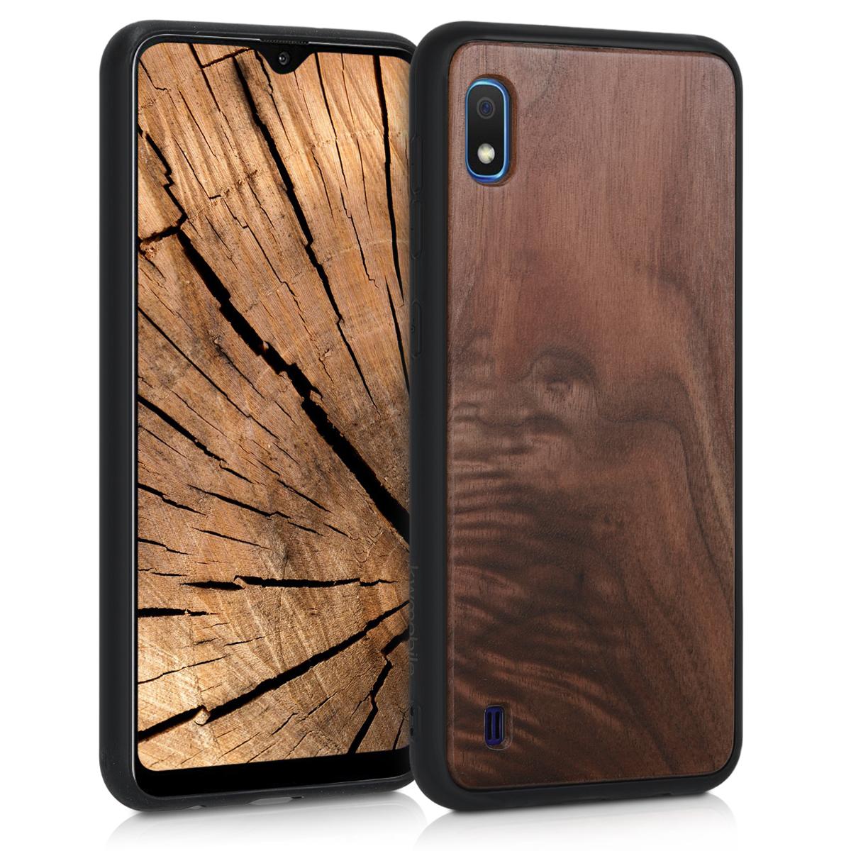 Dřevěné pouzdro pro Samsung A10 - tmavě hnědá