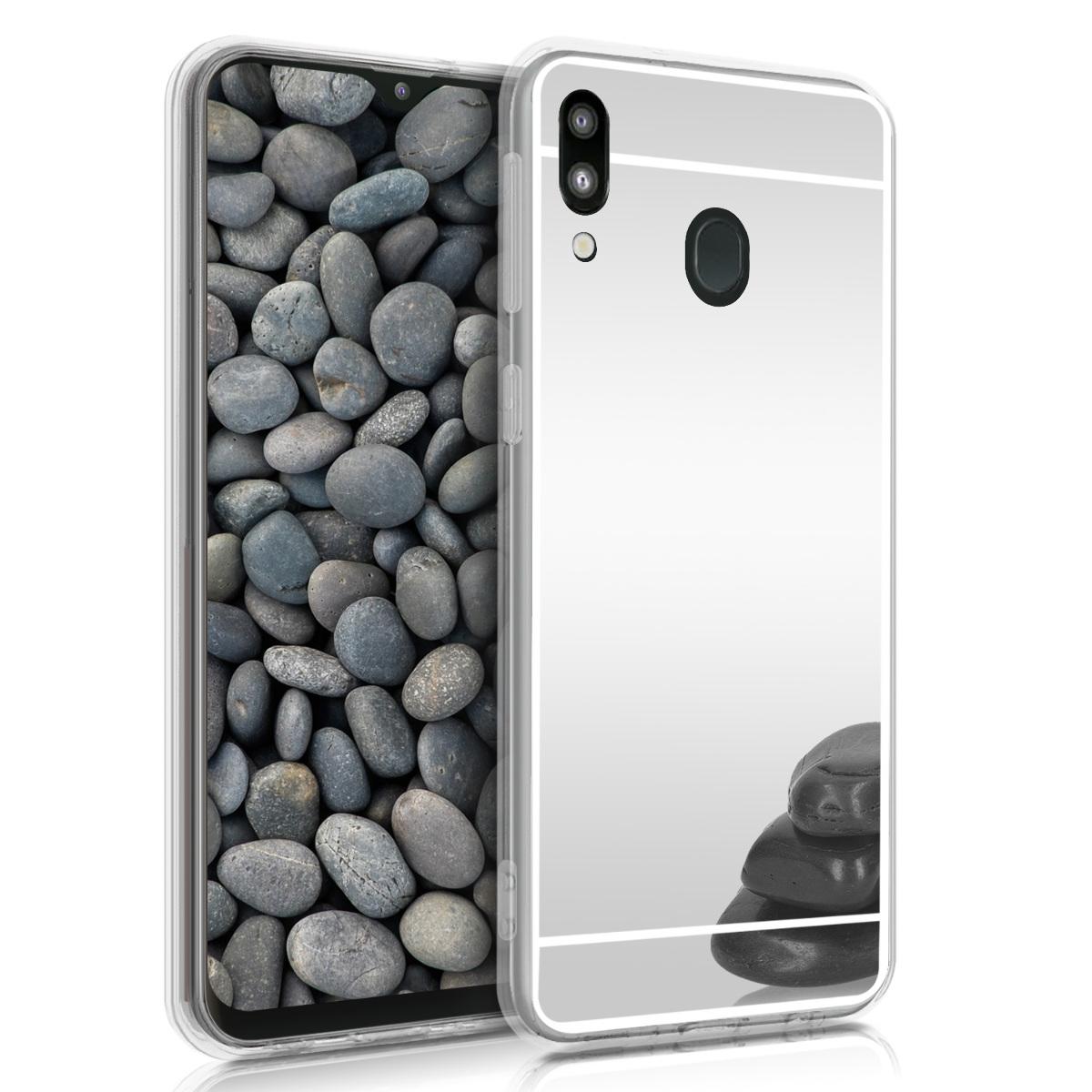 Kvalitní silikonové TPU pouzdro pro Samsung M20 (2019) - stříbrná Reflexní