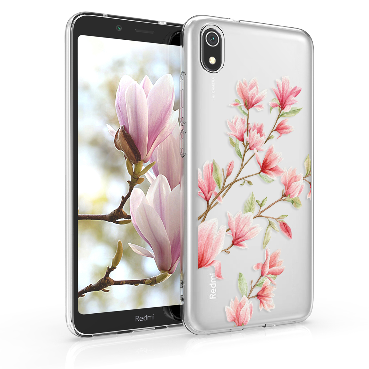 Kvalitní silikonové TPU pouzdro | obal pro Xiaomi Redmi 7A - Magnolie růžový / bílý / transparentní