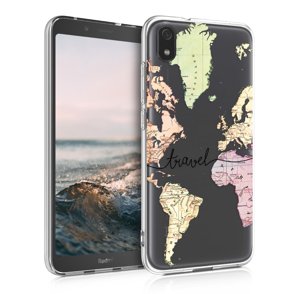 Kvalitní silikonové TPU pouzdro | obal pro Xiaomi Redmi 7A - Travel černý / Multicolor / transparentní