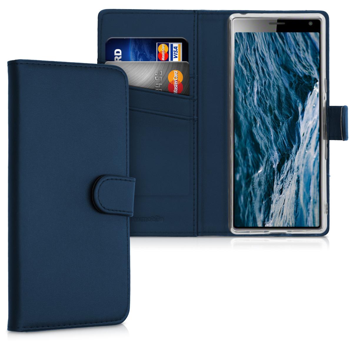 Kožené pouzdro | obal pro Sony Xperia 10 - tmavě modré